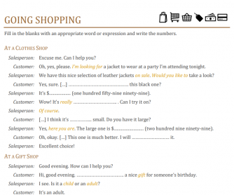 Going Shopping Fill in the Blank Conversation