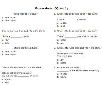 Expressions of Quantity