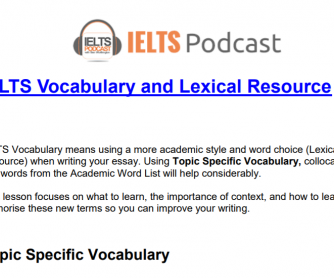 IELTS Topic Vocabulary Lists and Activities