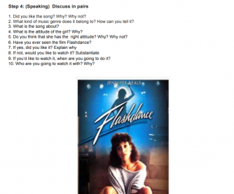 Maniac from Flashdance Song Worksheet