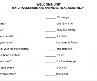 Welcome Unit Worksheet