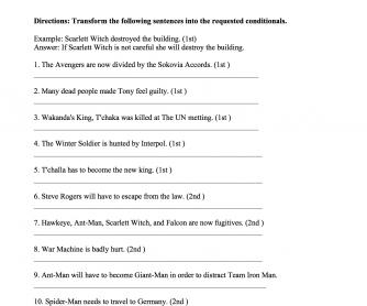 Avengers Civil War Conditionals Worksheet