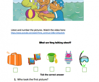 The Berenstain Bears by the Sea Worksheet