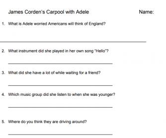 Carpool Karaoke with Adele Worksheet