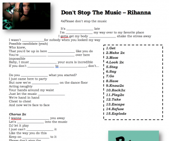 Song Worksheet: Don't Stop the Music by Rihanna