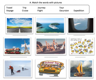 Kinds of Trips Vocabulary Worksheet