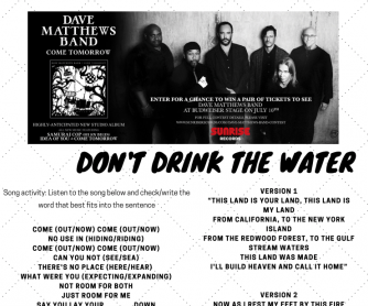Don't Drink the Water, Song Activity - Part 1
