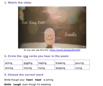 Song Worksheet - Smile