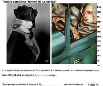 History of Art in English- Tamara de Lempicka student A and B