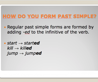 Past Simple Of Regular Verbs PowerPoint