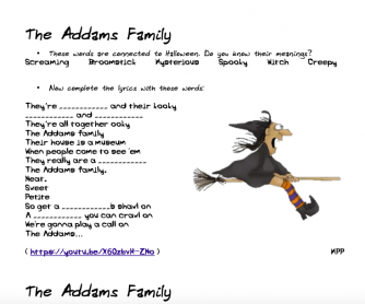 Song Worksheet: Halloween-The Addams Family