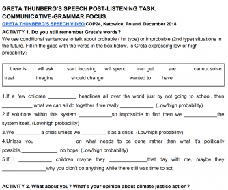 Greta Thunberg's Speech Post-Listening Task. Communicative-Grammar Focus.