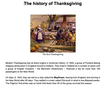 The History of Thanksgiving Lesson