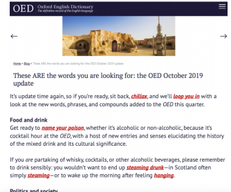New Words from 2019 in the Oxford English Dictionary - Reading Comprehension and Quiz