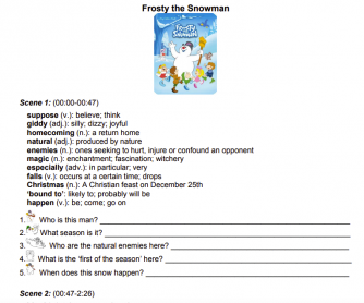 Frosty the Snowman (1969) Worksheet