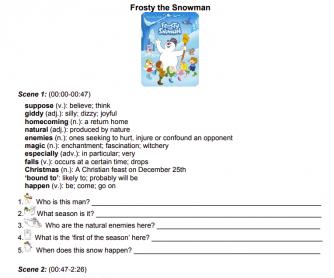 Frosty the Snowman (1969) Worksheet