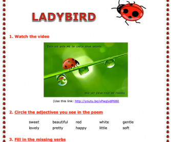 Ladybird Song Worksheet