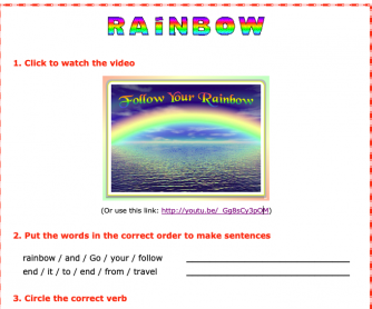 Rainbow Video and Worksheet