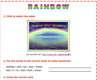 Rainbow Video and Worksheet