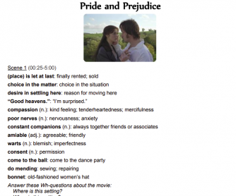 Handout Pride and Prejudice with Answers