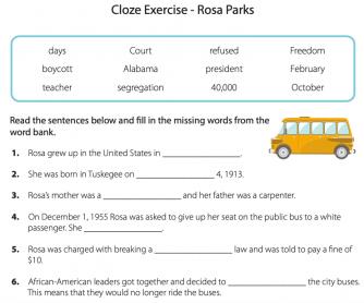 Cloze Activity - Rosa Parks