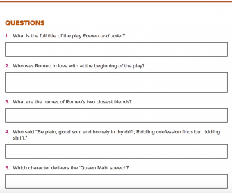 Quiz Questions - Romeo and Juliet