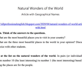 Natural Wonders of the World - Article with Geographical Names