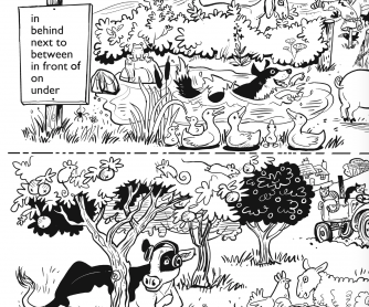 ESL Activity Sheet For Children - Farm Animals & Prepositions of Place