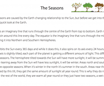 Reading Comprehension - The Seasons