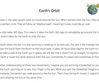 Reading Comprehension - The Earth's Orbit