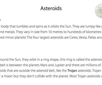 Asteroids - Reading Comprehension Worksheet
