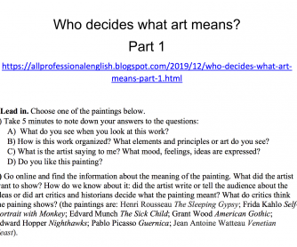Who decides what art means? Listening Comprehension (Part 1)