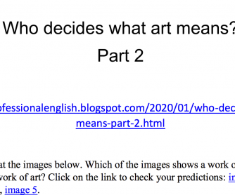 Who Decides What Art Really Means? Listening & Speaking Activity Part 2