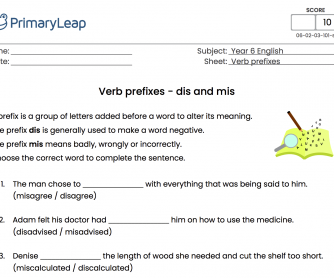Verb Prefixes - dis and mis