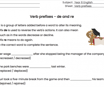 Verb Prefixes - de and re