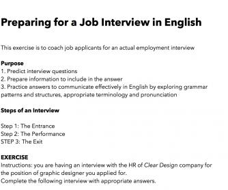 Job Interview Dialogue Practice