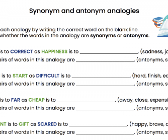 Synonym and Antonym Analogies