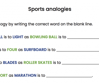 Sports Analogies Worksheet