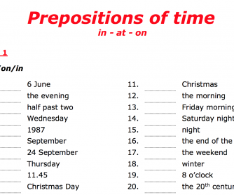Prepositions of time (in, at, on)