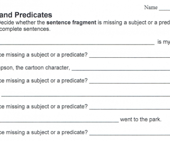 Subjects and Predicates – Practice