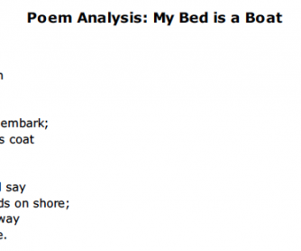 My Bed is a Boat Poem Analysis Worksheet