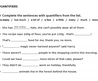 "Common Quantifiers, ""Too"", And ""Enough"" With Nouns, Verbs And Adjectives"