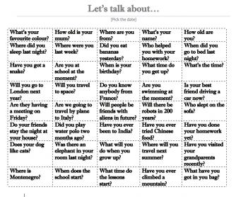 Task Cards to Get Talking