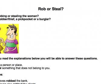 Verbs: Rob or Steal?