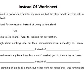 'Instead Of' Sentence Completion Worksheet