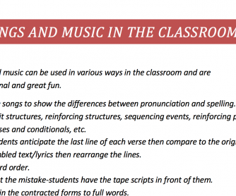 Songs and music in the classroom