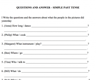 Simple past questions & answers with pictures