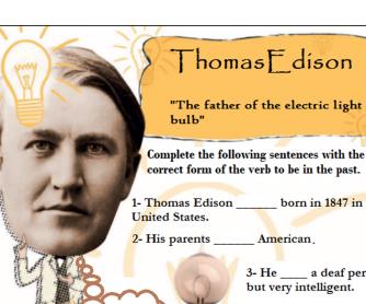 """Past Tense """"To Be"""" Thomas Edison"""