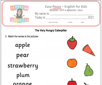 The Very Hungry Worksheet