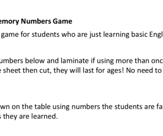 Numbers Concentration Game